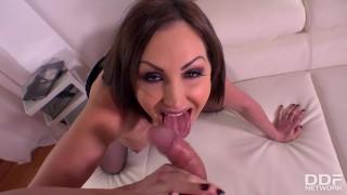 Horny secretary Yasmin Scott wanks and sucks Your big hard veiny cock