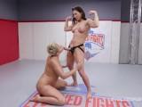 Ryan Keely battles Ariel X in lesbian wrestling winner strapon fucks loser