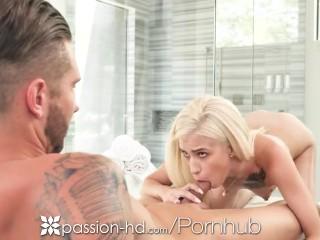 PASSION-HD Pierced Nipple Blonde Spreads Legs Wide