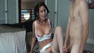 Rachel Steele MILF1132 - Hottest Mom in white lingerie taking stepson