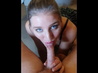 Blonde in lingerie gives sensual blowjob.