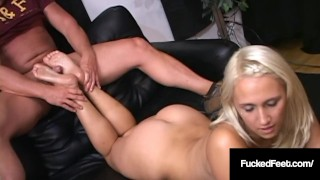 Foot Fetish Newbie Candy Strokes Hard Cock With Size 8 Soles
