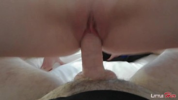 She get me Hard, LittleHer Tight Pussy rides me for a Quick Cumshot