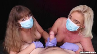 Masked Cock Milking POV Handjob with Teen and MILF – FinishHim