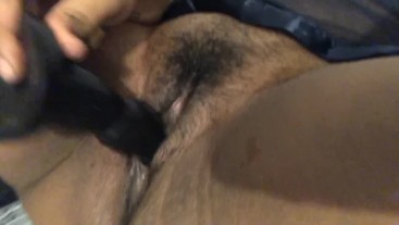 Hairy pussy fingering with big black dildo