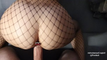 Deepthroat training and doggy with buttplug in fishnet makes him cum quick