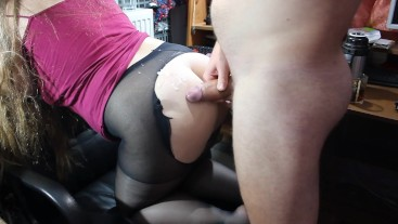 Husband tore tights on his asshole bitch and fucked her hard