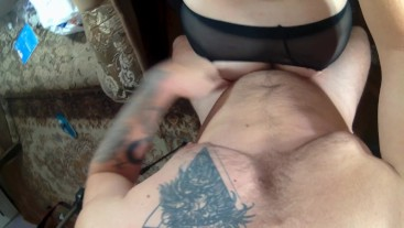 Guy fucked hard ass bitch in torn pantyhose