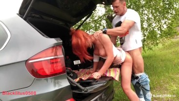 Babe Sloppy Blowjob Huge Cock Best Friend Husband and Rough Sex in the Car