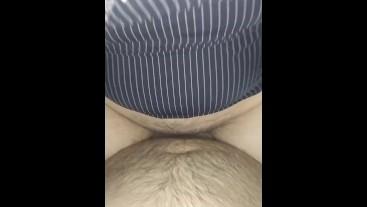 Chubby girl riding fat stepdaddy`s cock