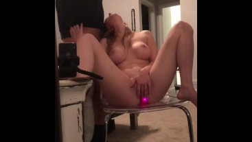 Riding my dildo, roommate wants in