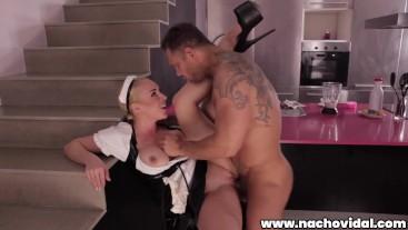 Nacho Vidal fucks his maid in the kitchen