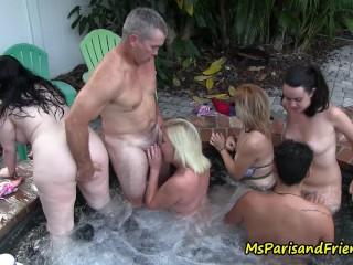 Hot Tub Orgy at the Neghbors House Ms Paris Rose, Paris Rose