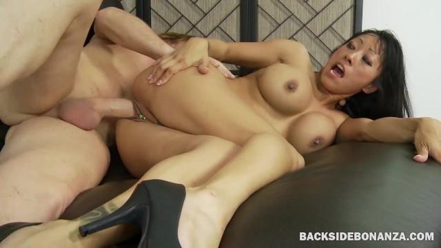 BACKSIDE Asian MILF Slut Creampied by Big White Cock