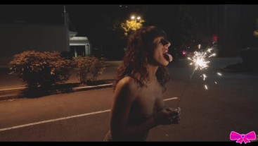 Sparkler Solo~Happy 4th of July Dakota Marr public topless outdoor firework