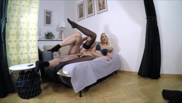 Sexy stockings girl got a cock in pussy and mouth