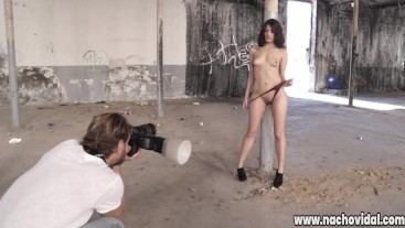 Nacho Vidal fucking with an adorable submissive in an abandoned warehouse