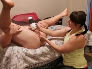 Prostate Massage and Fleht Lead to Pulsatng Hands Free Cumshot