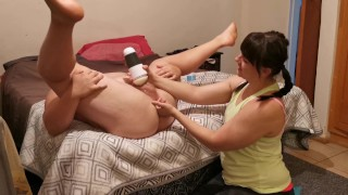 Prostate Massage and Fleshlight Lead to Pulsating Hands Free Cumshot!