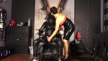 Rubberdoll triple ruin: Mistress Ezada ruining the orgasms of Her slave in