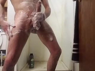 Shower time for monster cock stud!