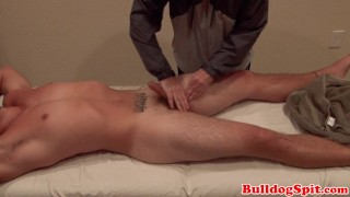Massaged UK stud gets his cock stroked