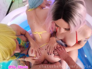 1 Boy Have Fun With 3 girls in the pool (4some sex short ver)