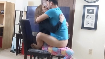 Sitting on her Lap, handjob and kissing (Lift and carry at 6:00)