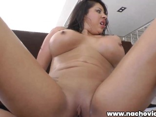 A horny and robust woman with huge tits is fucked in all positions
