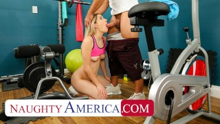 Naughty America – Abby Adams fucks her friend's dad in an empty gym