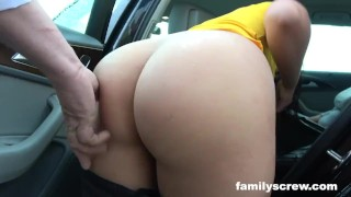 Dads Pick up Mother and Stepdaughter