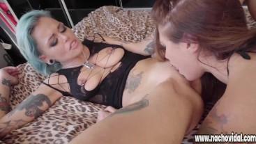 Two hot girls fucking with stud Nacho Vidal