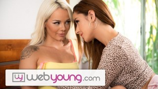 WebYoung Step-Sister Shows Elsa Jean How to Kiss