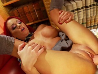Busty Redhead Student Fucked by Classates Bg Dck n the Lbrary