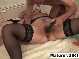 Two grandmas play wth a cock and each other
