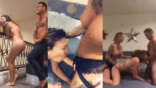Couple with sex toys Friend caught us and joins with strapon for threesome full - luckyxruby