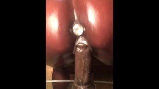 MEGHAN WOOD GLITTERY OILED FAT ASS DILDO RIDE WITH A DIAMOND IN HER ASS