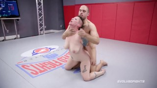 Mixed nude wrestling with Nikki Sequoia fighting Indiana Bones for sex