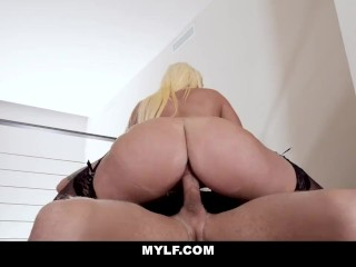 MILF – Mature Blonde MYlf Gets Cum On Her Monster Tits