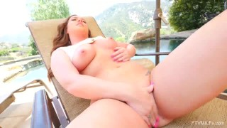 Maddy OReilly Big MILF Tits Masturbating by the Swimming Pool