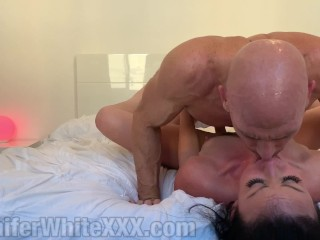 Cheatng whore Jennfer Whte gets her holes destroyed by lover Jennifer White, Johnny Sins
