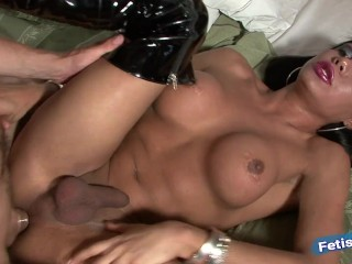 Pretty tranny enjoys sucking cock before getting rough...