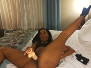 Sexy big booty ebony riding white dildo for the first time