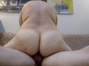 BBW MILF get orgasm riding dick, amateur blonde PAWG mom hardfuck homemade