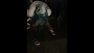 Caught tattooed babe pissing outside