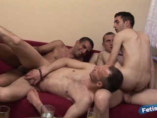 Two gay couples decide together their in rough...