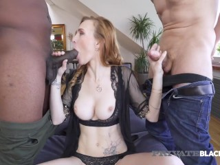 Prvate Black Pale Babe Clare DPd By Black Whte Cocks Belle Claire