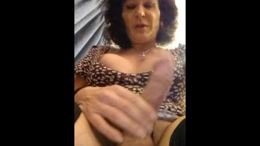Old tranny walking in his dress with a Hardon then showing you that hard Co