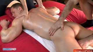 So handsome Athletic male gets massages by 2 guys in spite of him : Stefen