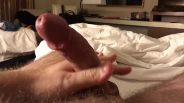 Edging  My Big White Cock in My Hotel Room Before Work